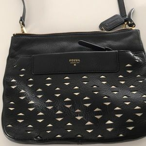 Fossil black and gold crossbody